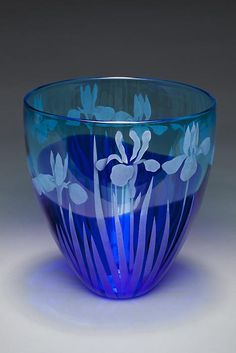 Blue Iris art glass by Cynthia Myers