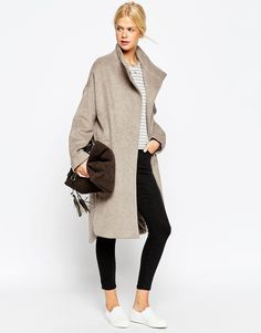 ASOS Coat in Oversized Fit with Popper Detail