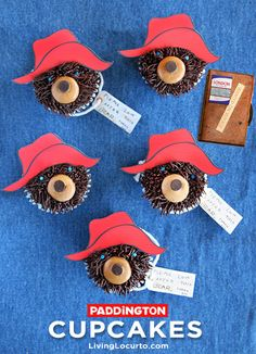 How to make Paddington Bear Cupcakes. Perfect for a kids birthday party. - A- A Southern Outdoor Cinema movie snack & food idea for outdoor movie events. Bear Cupcakes, Cute Cupcakes, Cupcake Cookies, Cupcakes Kids, Decorated Cupcakes, Cupcake Wars, Cake Pops, Paddington Bear Party, Cupcakes Decorados