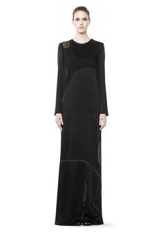 63481b203a77  Alexander Wang LONG SLEEVE LASERCUT AND WELDED DRESS Long Dress  Official  Site