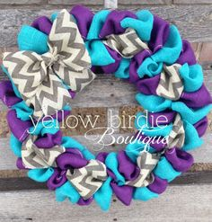 Burlap Wreath Summer Wreath Purple Aqua by YellowBirdieBoutique, $44.00