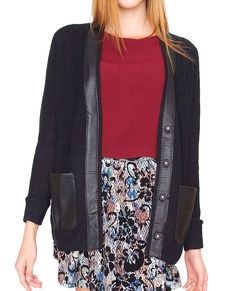 +Open weave sweater cardigan with faux leather detailing
