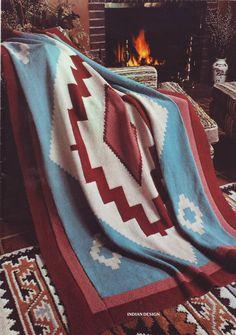 PDF Knit Afghan Pattern (pdf file)-  Native Navajo Design 201212 on Etsy, $3.50