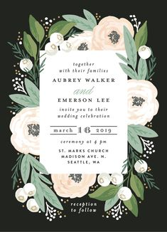 Pink, white and green floral garland wedding design invitation. Classic garden wedding invitation available on Minted.com and by Minted artist, Alethea & Ruth.