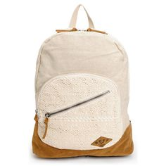 What goes with your crochet shorts, crochet bikini, and crochet Toms? The Lately crochet backpack from Roxy! This Pearl off-white girls backpack features a medium sized main compartment with organization pockets and faux suede zipper pulls. The exterior has crochet overlays at the front zipper pocket and top panel while the bottom is a durable faux suede. Carry all your summer stuff in crochet style with the Roxy Lately backpack.