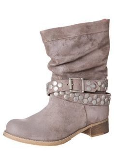 Cowboy-/ Bikerstiefeletten - taupe Biker Boots, Taupe, Slippers, Wedges, Shoes, Fashion, Boots, Over Knee Socks, Heeled Boots