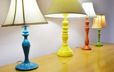 DIY colorful thrift store lamps, I like these but I think I would recover the shades with cool fabric :) Spray Paint Lamps, Old Lamps, Lamp, Decor, Diy Decor, Thrift Store Diy, Home Diy, Thrift Store Lamp Diy, Colorful Lamps