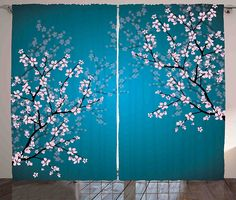 Teal Curtains Decor by Ambesonne, Pink Blossoms Art Leaves and Plants Ombre Spring Japanese Sakura Flowers in Garden Park, Living Room Bedroom Window Drapes 2 Panel Set, 108 W X 90 L Inches, Teal Pink ** See this awesome image  (This is an amazon affiliate link. I may earn commission from it)