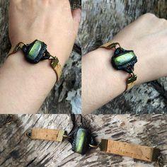 Surinya - Elven - Labradorite - Bracelet - Cork - Brass - Metal - Amulet - Elvish - Green - Magic - Witchcraft - Pagan - Enchanted Everyday