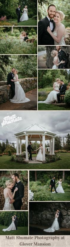 Matt Shumate Photography at Glover Mansion with happy bride and groom wedding day portraits in a park by a rock wall, sitting on a bench, walking together, romantic kiss, in nature surrounded by trees and flowers under cloudy skies
