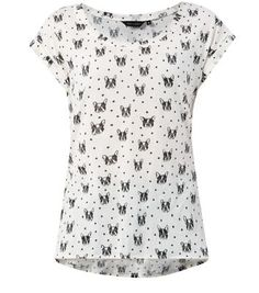 Cream Bulldog Print T-Shirt