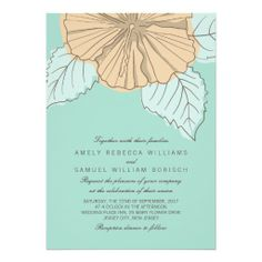 Custom Stylish Modern Hibiscus Mint Wedding Invitation created by pinkpinetree. This invitation design is available on many paper types and is completely custom printed. Beautiful Wedding Invitations, Floral Wedding Invitations, Bridal Shower Invitations, Hibiscus Wedding, Afternoon Wedding, Bridal Shower Flowers, Wedding Flowers, Spring Wedding Colors, Wedding Summer