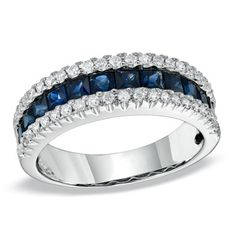 Princess-Cut+Sapphire+and+1/5+CT.+T.W.+Diamond+Band+in+14K+White+Gold