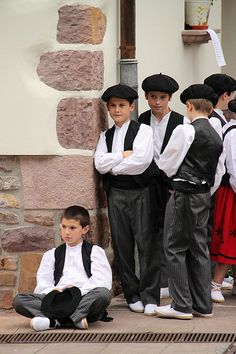 Fiestas de Etxalar Pais Vasco -- children ready for a Basque celebration in Spain