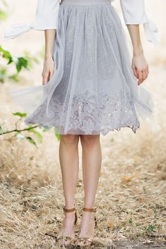 Gabrielle Grey Lace Tulle Midi Skirt