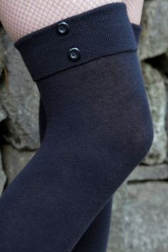 Socks by Sock Dreams » .Socks » Knee Highs » Solid Buttons & Cuffs Over the Knees