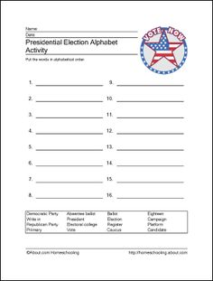 Presidential Election Wordsearch, Crossword, and More: Presidential Election Alphabet Activity