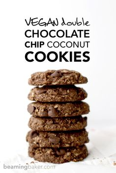 Rich, chewy & indulgent Double Chocolate Chip Coconut Cookies - a simple, vegan, GF recipe for twice the chocolate plus coconut oil, coconut sugar and coconut shreds! http://BEAMINGBAKER.COM #vegan #glutenfree