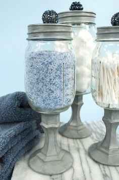 Mason jars, candle stick holders, spray paint and cool little knobs. Oh the possibilities! Apothecary Jars  LOVE!!!!