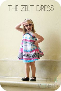 The Zelt Dress with adorable over-sized retro prints!