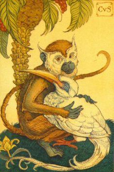Monkey w/Egret by Charles Van Sandwyk