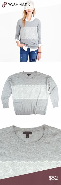 """JCREW Gray Needle Punch Lace Sweater Excellent condition ! This gray needle punch lace sweater from JCREW features a relaxed loose fit, crew neckline and drop sleeves. Made of a wool blend. Measures: bust: 48"""", total length: 27"""", sleeves: 21"""" J. Crew Sweaters Crew & Scoop Necks"""