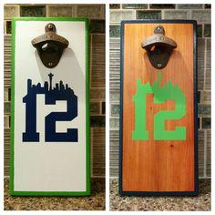 Seattle Seahawks man Magnetic Bottle by NorthwestFinestCraft Wood Pallet Art, Pallet Crafts, Wood Pallets, Wood Art, Pallet Projects, Diy Crafts, Magnetic Bottle Opener, Beer Bottle Opener, Bottle Openers