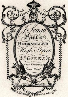 """18th century trade card: """"J. Seago, Print & Bookseller. High Street, St. Giles's near Tottenham Court Road. Prints, Drawings, & Books bought."""""""