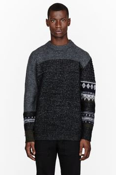3d2141c4b4cba 3.1 Phillip Lim Grey Patchwork Patterned Sweater for men