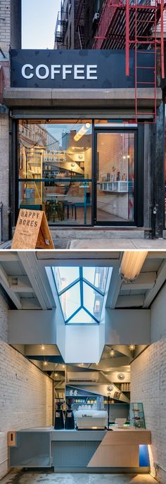 This modern coffee shop opts for a brighter, industrial look that features art and publications from around the world.