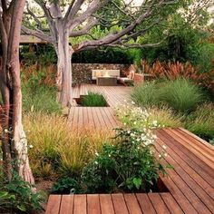 Deck encompassing trees and bushes.