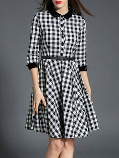 Shop Midi Dresses - Black Elegant Swing Peter Pan Collar Midi Dress online. Discover unique designers fashion at StyleWe.com.