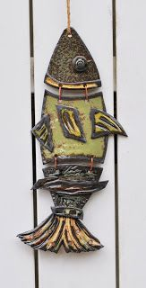 """Cold Comfort Pottery """"funky fish""""...love the inspiration...wind chime parts?"""