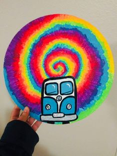 Excited to share the latest addition to my shop: Trippy / hippie van / painted vinyl record / tiedye / mandala / trippyart / thisuniquevibe / art/ painting / acrylic painting / hippie Hippie Painting, Trippy Painting, Diy Painting, Hippie Drawing, Gouache Painting, Alien Painting, Tie Dye Painting, Face Painting Tutorials, Face Painting Designs