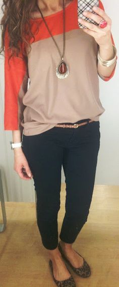 Have a shirt like this, didn't think to pair with leopard shoes. Cute!