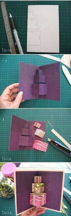 Handmade birthday card ideas with tips and instructions to make Birthday cards yourself. If you enjoy making cards and collecting card making tips, then you'll love these DIY birthday cards! Pop Up Cards, Xmas Cards, Cute Cards, Pop Up Greeting Cards, Pretty Cards, Diy Cadeau, Handmade Birthday Cards, Birthday Diy, Birthday Images