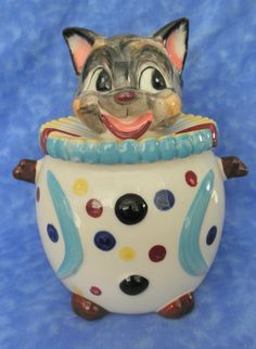 CLOWN CAT CANISTER Cookie Biscuit Jar