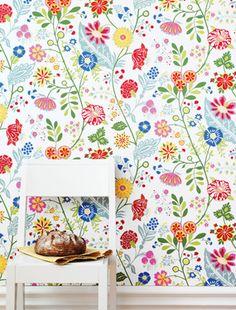Super pretty and fresh floral Cecilia wallpaper by Sandberg.