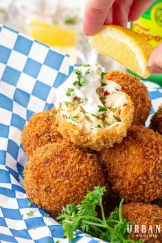 These fried crab balls are an easy appetizer recipe for pleasing the whole family. They are terrific made ahead for parties and potlucks, and bring a summertime, seaside flair to any meal. It's the must have seafood recipe for the beach lover in your life.  Get the recipe now on UrbanCowgirlLife.com Potluck Appetizers, Appetizers For A Crowd, Seafood Appetizers, Easy Appetizer Recipes, Entree Recipes, Seafood Recipes, Healthy Recipes, Beach Appetizers, Seafood Diet