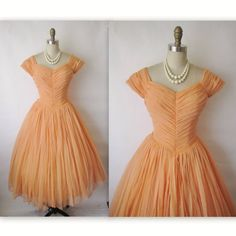 50's Chiffon Dress // Vintage 1950's Ruched by TheVintageStudio