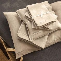 selvedge - fog linen - white + natural linen bedding