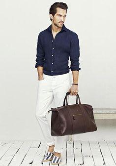 ネイビーシャツ×白デニムの着こなし(メンズ) | Italy Web