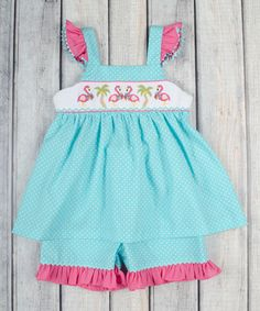 Another great find on #zulily! Aqua Flamingo Smocked Top & Shorts - Infant, Toddler & Girls #zulilyfinds