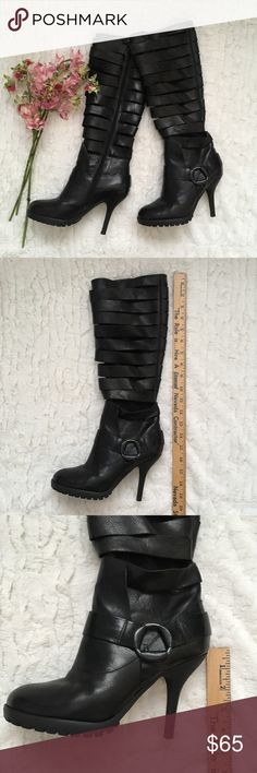 """Miss Sixty Farrah Sexy Heels Black Boots MISS SIXTY """"Farrah"""" Sexy Heeled Black Leather Boots. Size 7.5. Worn 3-4 times. Great condition! No visible flaws.  Measurements:  • Shaft Height: 15"""" • Opening: 7"""" • Heels: 4"""" Please feel free to ask questions. All sales are final! Miss Sixty Shoes Heeled Boots"""