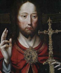 Master of the Mansi-Magdalena (workshop, active Antwerp c.1510/25), Christ as Salvator Mundi, Oil on cradled panel, 77,5 x 52 cm (detail)