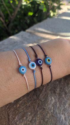 Evil eye protection bracelet, good luck bracelet, gift for her or for him Evil Eye Jewelry, Evil Eye Bracelet, Necklace Sizes, Bracelet Sizes, Greek Evil Eye, Good Luck Bracelet, Greek Gifts, Paper Gift Bags, Eye Protection