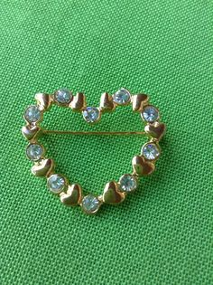Vintage Gold-tone Heart Pin Item 537 by LaylaBaylaJewelry on Etsy