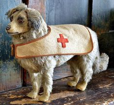 Antique Mohair Red Cross Rescue Dog Candy Container.