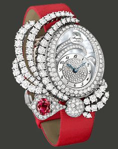 Haute Joaillerie Marie-Antoinette Dentelle watch, lacework decoration set with 89 brilliant-cut TW/IF-VVS diamonds (5.38 cts) and a ruby of ...