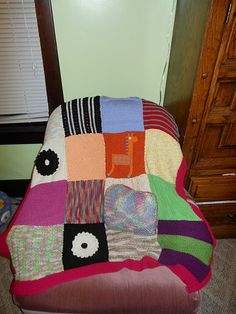knitted blanket, everyone made a square!